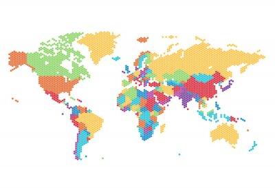 Fototapet Prickade världskarta av sexkantiga punkter