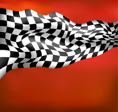 Fototapet racing bakgrund rutig flagga wawing