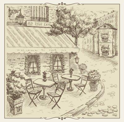 Fototapet Räcka den utdragna illustrationen, gata café i gamla stan.
