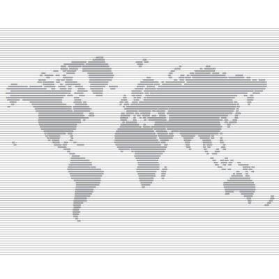 Fototapet randig linje världskarta vektor mall
