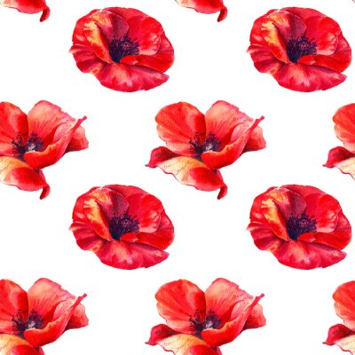 Fototapet Red poppies on a white background. Floral seamless pattern with big bright flowers.Summer watercolour illustration for print textile,fabric,wrapping paper.