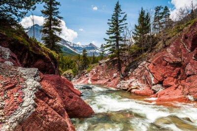 Fototapet Red Rock Creek i rörelse och canyon