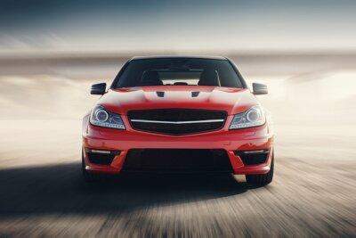 Fototapet Red Sport Car Snabb körhastighet på asfaltvägen