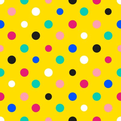 Fototapet Regnbåge färgrik polka dot gul bakgrund vektorillustration