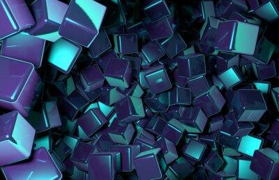Fototapet Renderade 3D Cubes slumpmässigt fördelade i rymden, mörkblå kuber