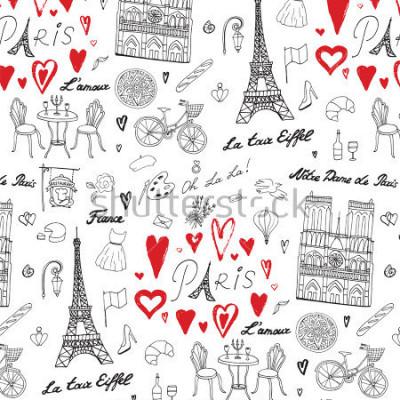 Fototapet Resa Paris vector linjemönster
