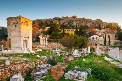 Fototapet Rester av romerska Agora och Akropolis i Aten, Grekland.