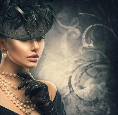 Fototapet Retro kvinna porträtt. Vintage stil flicka klädd gammaldags hatt