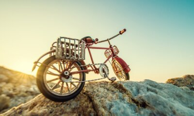 Fototapet retro leksak cykel vid havet