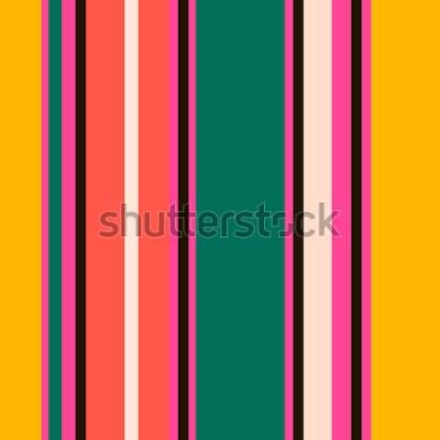 Fototapet Retro ljusa färgglada sömlösa ränder mönster. Abstrakt vektorbakgrund. Snygga färger.