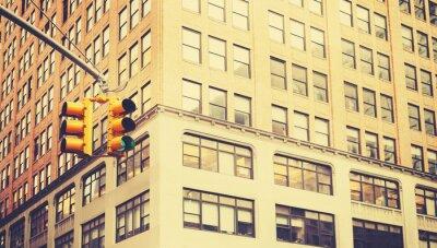 Fototapet Retro stiliserad bild av trafikljus i New York City, kort skärpedjup.