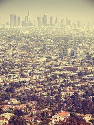 Fototapet Retro stiliserade Flygfoto över Los Angeles sedd genom smog, USA
