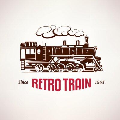 Fototapet retro tåg, vintage vektor symbol, emblem, etikettmall