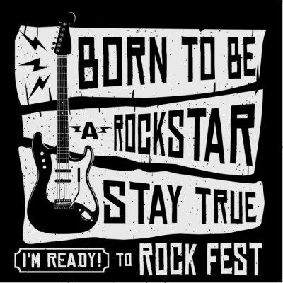 Fototapet Rock Music Festival Vector T-shirt eller affisch Illustration