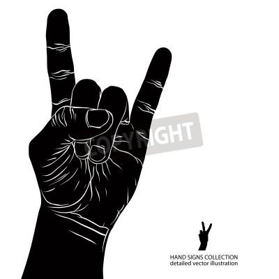 Fototapet Rock på handen tecken, rock n roll, hårdrock, heavy metal, musik, detaljerad svartvit vektorillustration.