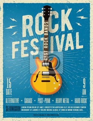 Fototapet Rockmusikfestival flyer. Vektor illustration.