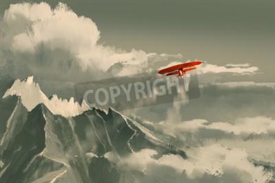 Fototapet Röd biplan som flyger över berg, illustration, digital målning