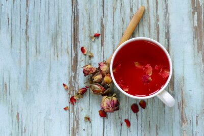 Fototapet röd blomma te, från kronblad ros