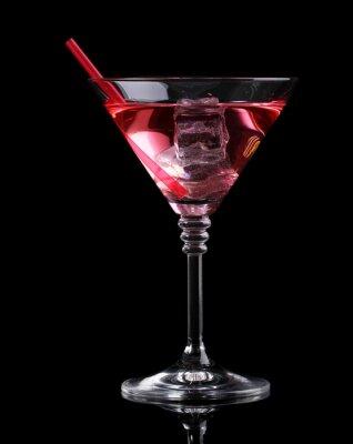 Fototapet Röd cocktail i martini glas isolerad på svart