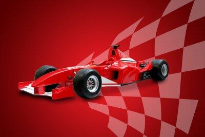 Fototapet röd formel en bil och racing flagga