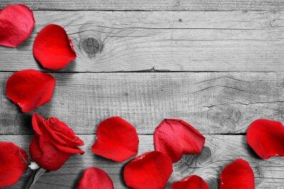 Fototapet Röd ros och kronblad på svart och vitt trä bakgrund