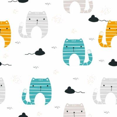Fototapet Rolig katt med mus sömlöst mönster. Barnligt tryck. Vektor handgjord illustration.