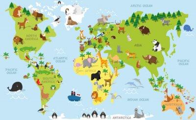 Fototapet Rolig tecknad världskarta med traditionella djur av alla kontinenter och hav. Vektor illustration för förskoleundervisning och barn utformning