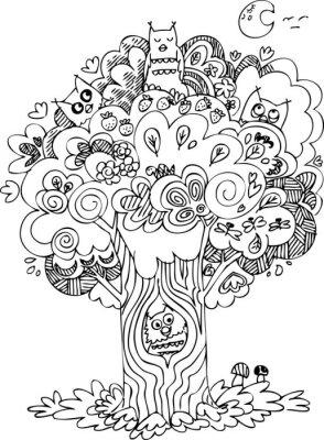 Fototapet Rolig träd med söta tjut