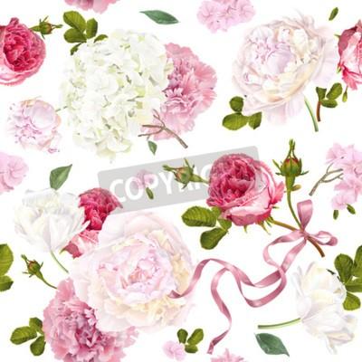Fototapet Romantic garden flowers pattern