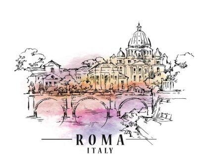 Fototapet Romerskiss Italienska huvudillustrationen.