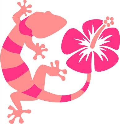 Fototapet Rosa Gecko med hibiskus