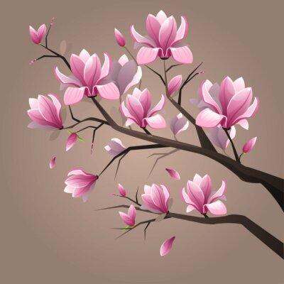 Fototapet Rosa magnolia blommor