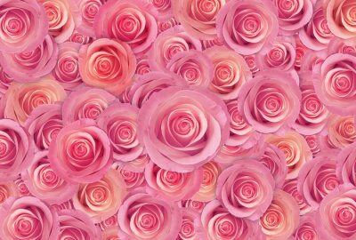 Fototapet rosa rosor blomma bakgrund, lyckliga valentin dag