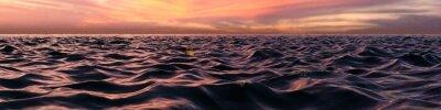 Fototapet Rosa solnedgång Panorama över Ocean Waves