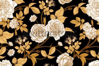 Fototapet Rosor, blommor, blad, grenar och bär av hundros. Sömlös blommig vintage mönster. Guld, brist och vit. Orientalisk stil. Vektorillustration konst. För designtextil, papper, tapeter.