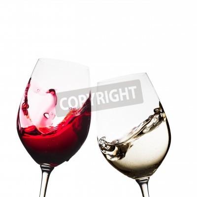 Fototapet Rött och vitt vin glas isolerade
