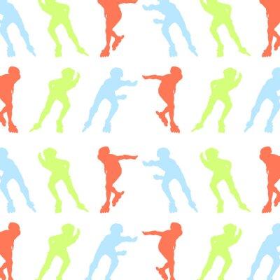 Fototapet Rullskridskor mönster vektor bakgrund begrepp
