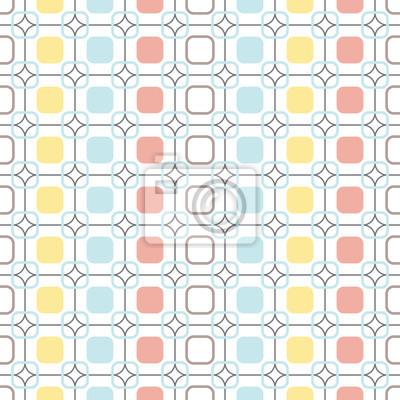 Fototapet Rundade fyrkanter repeterbar sömlösa vektor mönster.