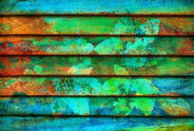 Fototapet rytmisk serie trä färgstarka linjer