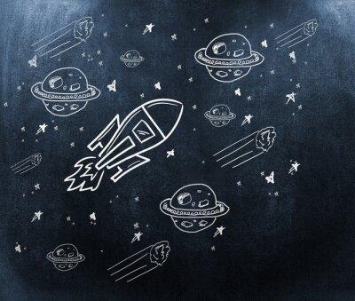 Fototapet Sammansatt bild av planet, stjärnor och raket
