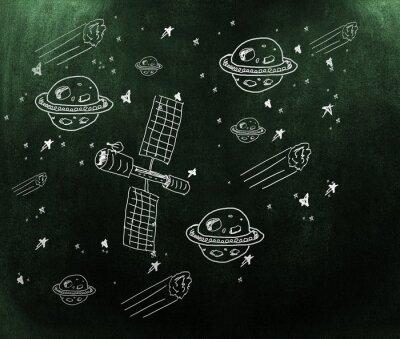 Fototapet Sammansatt bild av planet, stjärnor och satellit