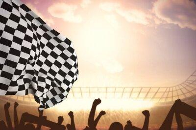 Fototapet Sammansatt bild av rutig flagga
