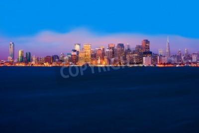 Fototapet San Francisco skyline på natten