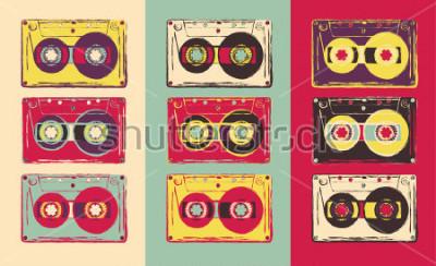Fototapet Sats med retro ljudkassetter, pop art stil. Vektorbild.