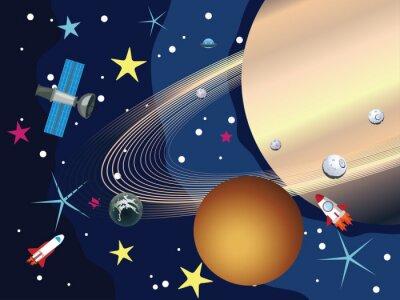 Fototapet Saturnus i rymden