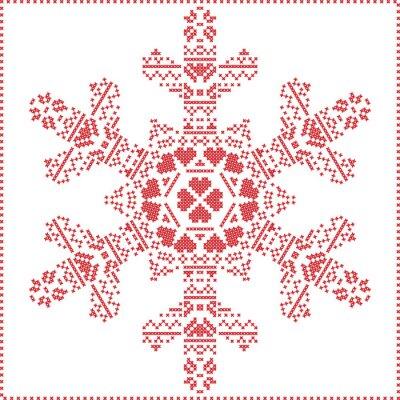 Fototapet Scandinavian Nordic korsstygn, stickning jul mönster i snöflinga form, med korsstygn ram inklusive snö, hjärtan, stjärnor, dekorativa element i rött på vit bakgrund