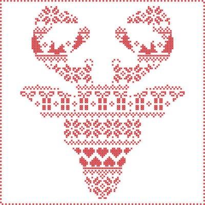 Fototapet Scandinavian nordiska vinter sömmar stickning jul mönster i ren huvudform frontal inklusive snöflingor, hjärtan julgranar julklappar, snö, stjärnor, dekorativa ornament 2