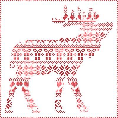 Fototapet Scandinavian nordiska vinter sömmar stickning jul mönster i ren kroppsform inklusive snöflingor, hjärtan julgranar julklappar, snö, stjärnor, dekorativa ornament 2