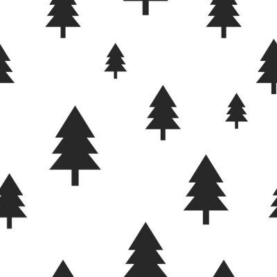 Fototapet Scandinavian svart skogsträd på vit vektor seamless. Enkel och moderiktig design för textil wrap papper, utskrifter.