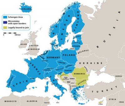 Fototapet Schengenområdet på Europa politiska kartan. All data är i lager för enkel redigering vektorkarta. Bakgrund för dina infographics.